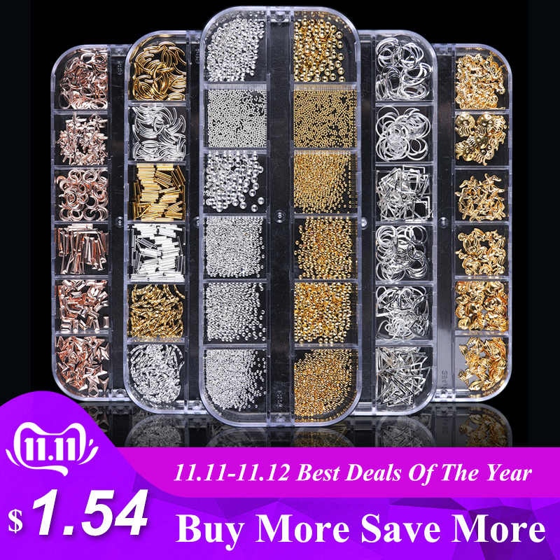 1Case Gold Silver Hollow 3D Nail Art Decorations Mix Metal Frame Nail Rivets Shiny Charm Strass Manicure Accessories Studs JI772