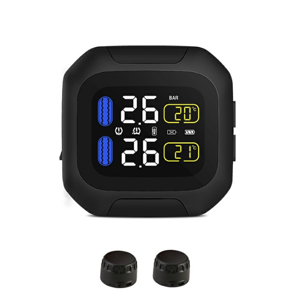 Motorcycle Tool Alarm System With 2 Sensor LCD Display Bicycle USB Charging Tire Pressure Monitor TPMS Wireless Universal|  - title=