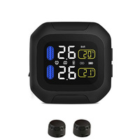 Motorcycle Tool Alarm System With 2 Sensor LCD Display Bicycle USB Charging Tire Pressure Monitor TPMS Wireless Universal|  -