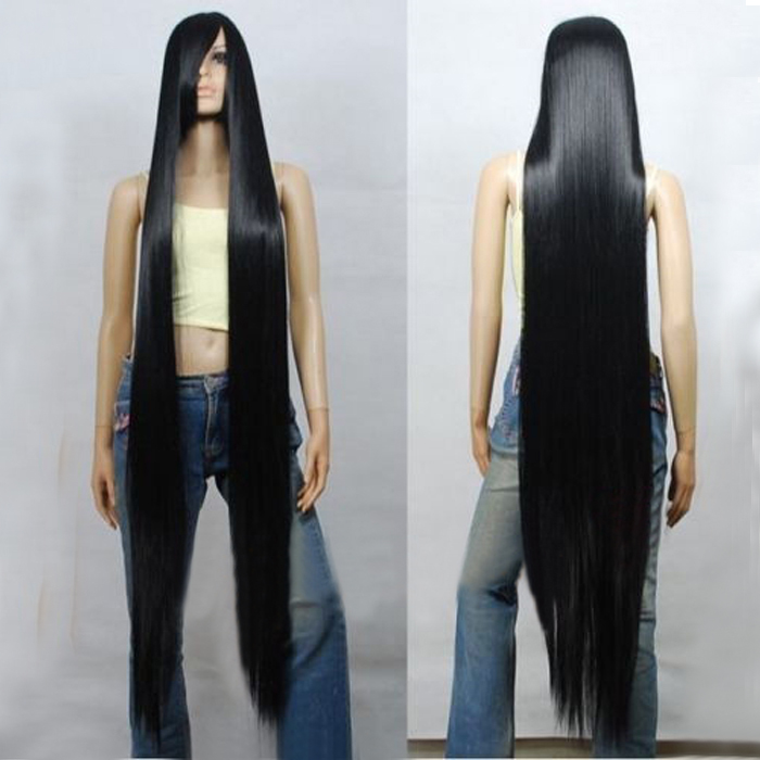 80CM 100CM 120CM <font><b>150CM</b></font> 200CM Black Long Straight Heat Resistant Hair Cosplay Costume <font><b>Wig</b></font> + <font><b>Wig</b></font> Cap image