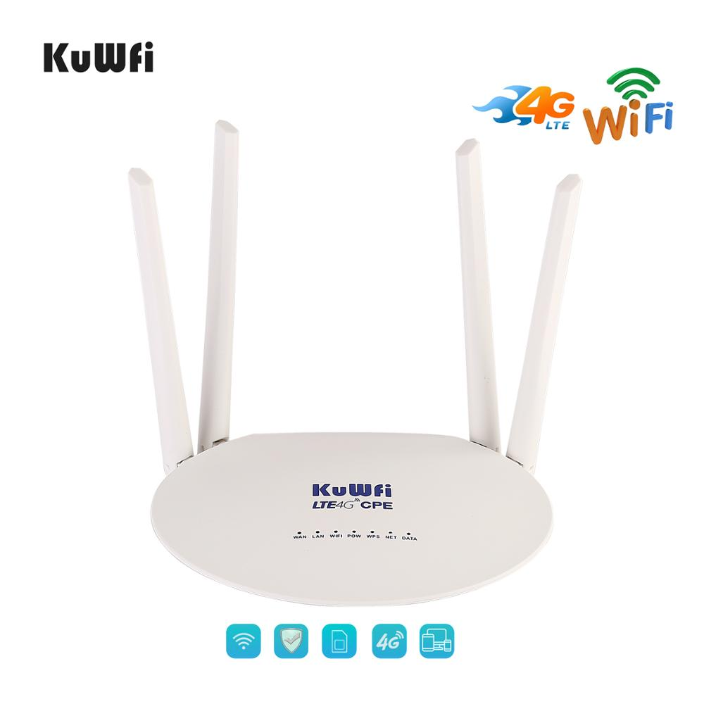 KuWfi 4G LTE Router 300Mbps Wireless CPE 3G/4G LTE Mobile Wifi Hotspot With Sim Card Slot&4Pcs External Antenna Up 32Users image