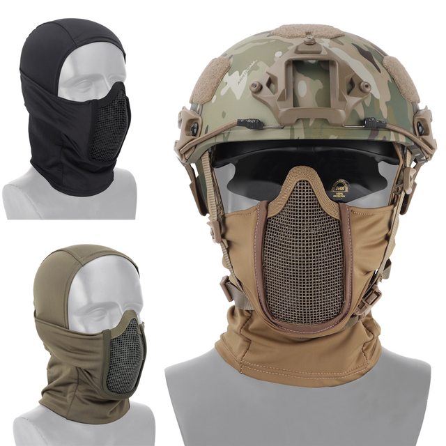 Tactical Full Face Mask Balaclava Cap Motorcycle Army Airsoft Paintball Headgear Metal Mesh Hunting Protective Mask