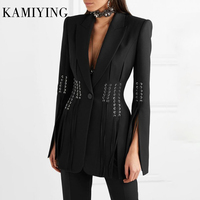 KAMIYING Casual Women Blazer Lapel Single Button Long Sleeve Button Bandage Split Slim Black Female Coat