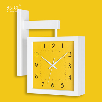 Creative Nordic Double Sided Wall Clock Wood Living Room Square Modern Wall Watches Silent Bedroom Duvar Saati Home Decor KK60WC