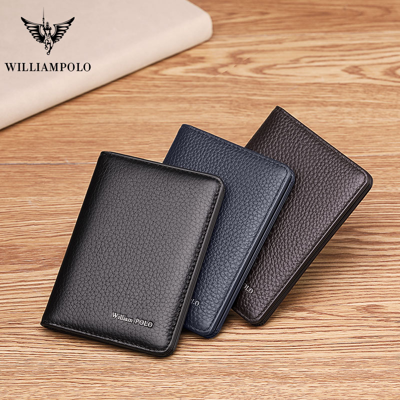 WILLIAMPOLO Men Card Wallet Small Purse Mens  Business Genuine Leather Luxury Brand Credit Card Holder Thin Wallets Slim Design
