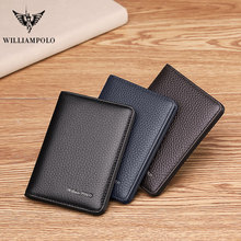 цена на WILLIAMPOLO Men Card wallet small purse Mens  Business Genuine Leather Luxury Brand Credit Card Holder thin wallets slim design