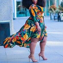 4XL 5XL Big Size Dress For Women Floral Print Deep v Neck As