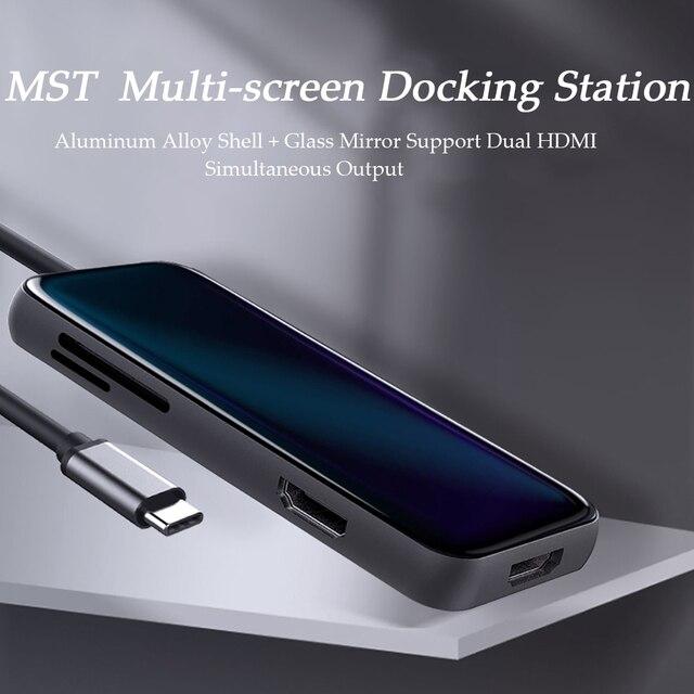Hdmi dual de carga rápida USB 3,0*3 HDMI pd tipo C 1 a 8 en PD para PS4, adaptador de pantalla dividida de disco duro móvil