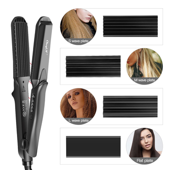 4-in-1Interchangeable Plates Fast Hair Straightener Flat Iron Electric  Ceramic Hair Curler Crimper Corrugated Wave Hair Styling 2