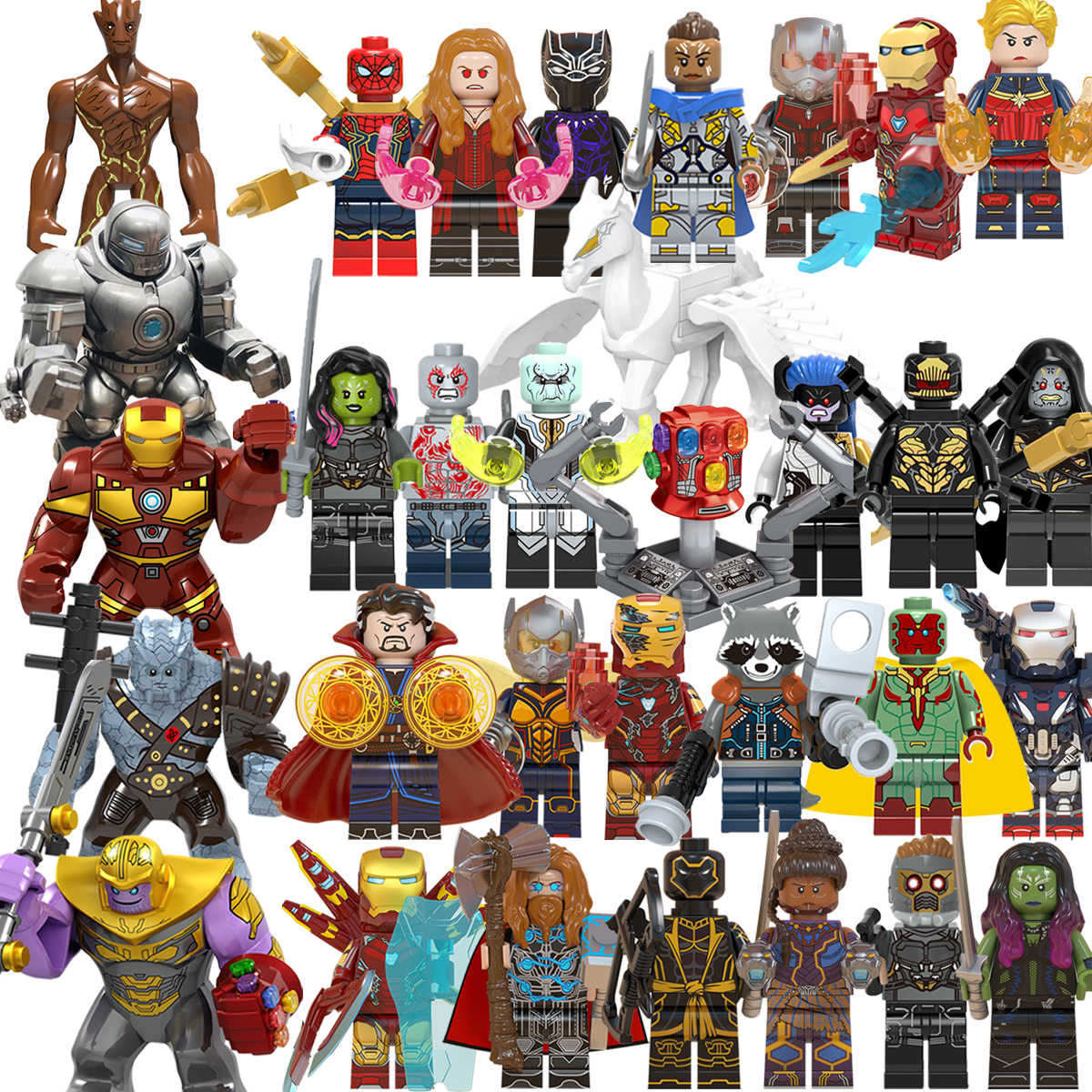 1pcs Avengers   Legoed  marvel Super Heroes Iron Man Thanos Thor War Machine Captain America  Building Blocks toy  for chirldren