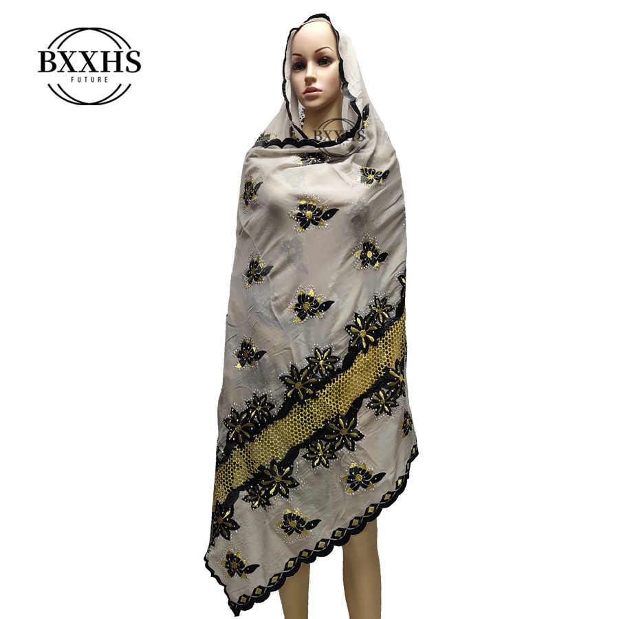 100% כותנה צעיף אפריקאי נשים צעיפים לקדש החוצה רקמה מוסלמי נשים חיג 'אב צעיף עבור Shawks