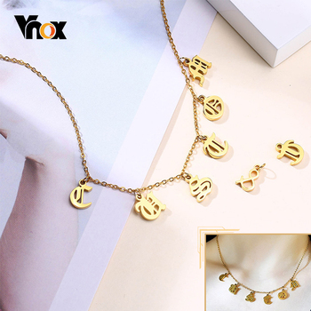 Vnox Women Personalized A-Z Letters Name Necklaces Gold Color Stainless Steel Old English Text MT Alphabet Pendant Jewelry