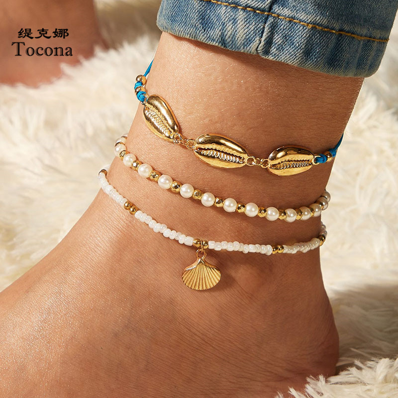 Tocona 3pcs/sets Bohemian Shell Bead Anklets for Women Summer Scallop Pearl Stone Rope Foot Chain Adjustable Jewelry 9336
