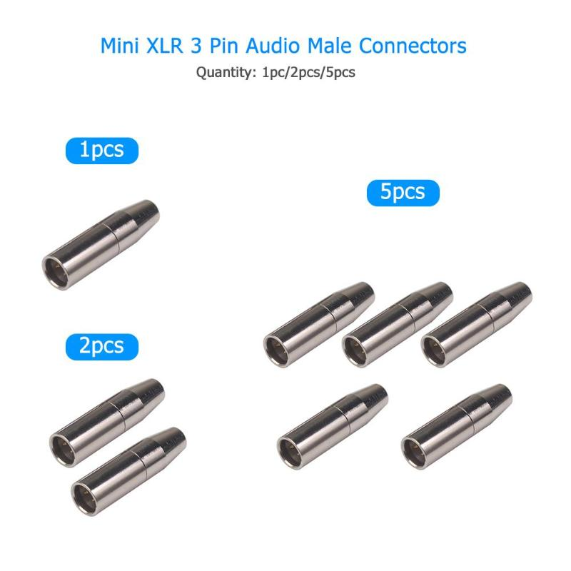 1/2/pcs Mini 3 Pin XLR Male Female Audio Plug Pure Copper Casing Good Shielding Performance Connector For Microphone Gold Silver