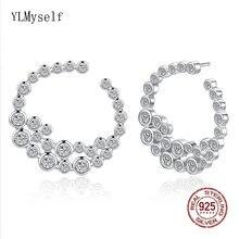 Серьги гвоздики из серебра 925 пробы с искусственными кристаллами