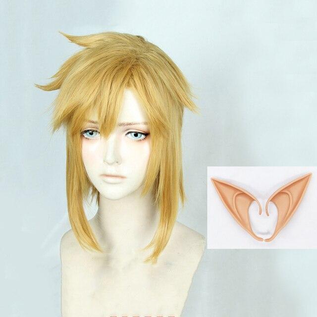 젤다의 전설: 와일드 링크의 숨결 짧은 황금 금발 조랑말 꼬리 머리 코스프레 의상 가발 내열성 섬유 + 귀