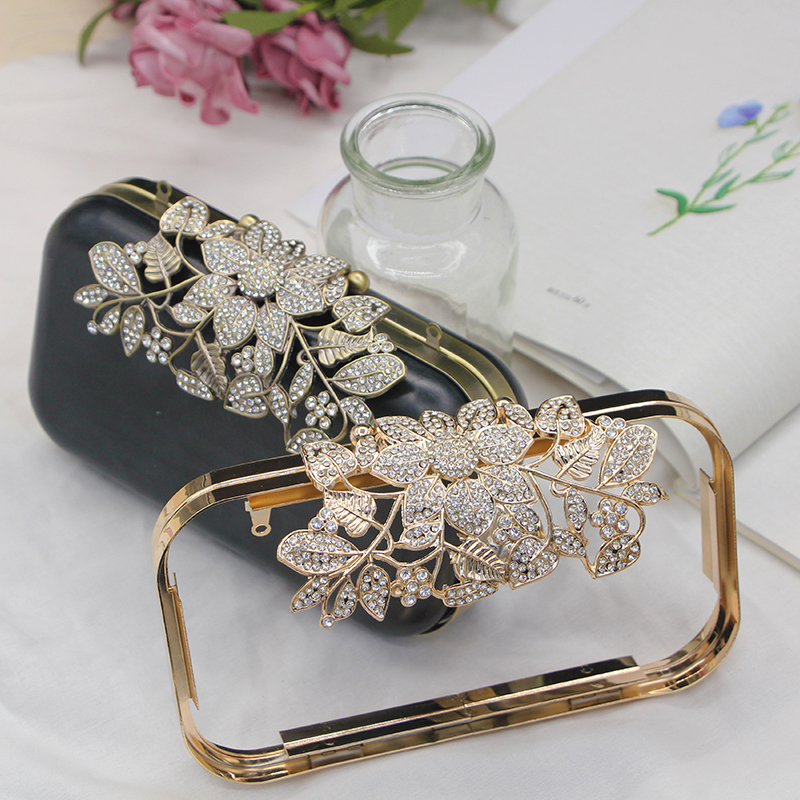 Three Shape Silver Gold Antique Brass Color Metal Purse Frame Box Clutches Frame Obag Handles Handbag Accessories DIY Wallet Bag