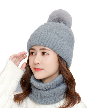 Women Scarf Knitted Hat Winter Hats For Women Female Beanie Balaclava Mask Solid Female Cap Gorro Hat Skullies Beanies women s knitted hat cap ear flaps w ball scarf snood yellow white