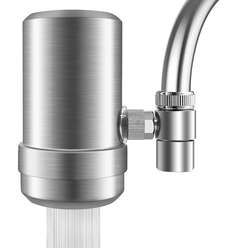 Faucet Water Filter, Stainless-Steel Water Faucet Filtration System, High Water Flow Tap Water Filter, Water Purifier Reduces Ch