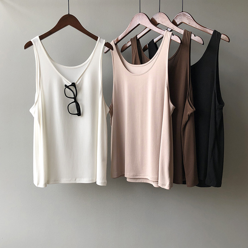 2020 Fashion Boho Summer Casual Tank Tops Sexy Sleeveless Women O-Neck Tank Top Female Candy Color Summer White Camis