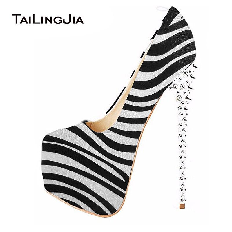 Womens Zebra Stripper Heels Shoes Woman Ultra High Heel Pumps Studded Sexy Platform Shoe Round Toe Ladies Spikes Heeled Footwear