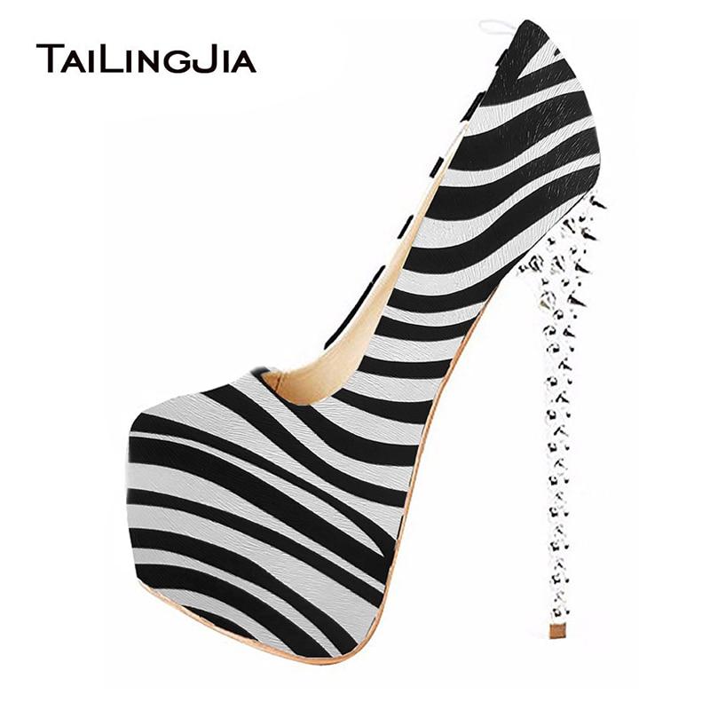Frauen Zebra Stripper Heels Schuhe Frau Ultra High Heel Pumps Mit Sexy Plattform Schuh Runde Kappe Damen Spikes Mit Hohen Absätzen Schuhe