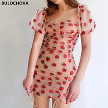 2021 New Summer Women Square Collar Puff Sleeve Sexy Package Hip Mini Dress Pink Mesh Print Strawberry Runway Vestidos Female