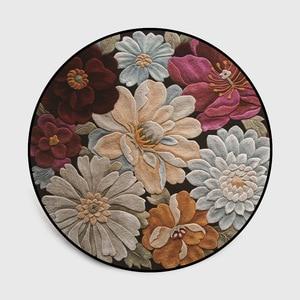 RULDGEE European Alfombra 3D Three-dimensional Flower Round Mat Bedroom Door Living Room Crystal Velvet Non Slip Floor Carpet