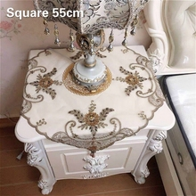 Luxury European Square Lace Beaded Embroidered Christmas Tablecloth Transparent Tapete Mantel Nappe Table Cover Wedding Decor