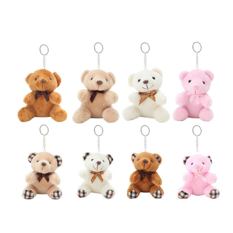 1 Pair Couple Bear Rabbit Plush Toy Florals Cloth Rabbit Bunny Doll Key Pendants