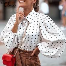 Celmia Stylish Tops Women Polka Dot Blouses Lantern Sleeve Casual Loose Lapel Neck Elegant OL