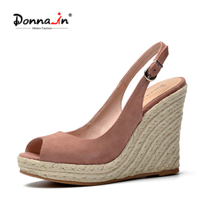 Image 1 - Donna in Platform Sandals Wedge Women Genuine Leather Super High Heels Open Toe Beach Fashion Female 2020 Summer Ladies Shoes