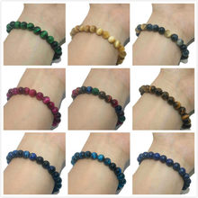 6 8 10 MM Natural Stone Beads Agates Tiger Eye Lapis Lazuli Jades Bracelets For Women Men Yoga Transfer Luck Bracelet Femme(China)