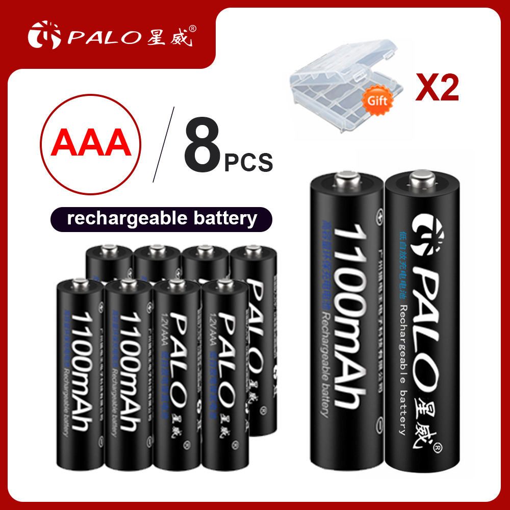 PALO 4-24pcs 100%  Original 3A AAA Rechargeable battery 1100mAh 1.2V make in China high quality for toy car Anti-dropping