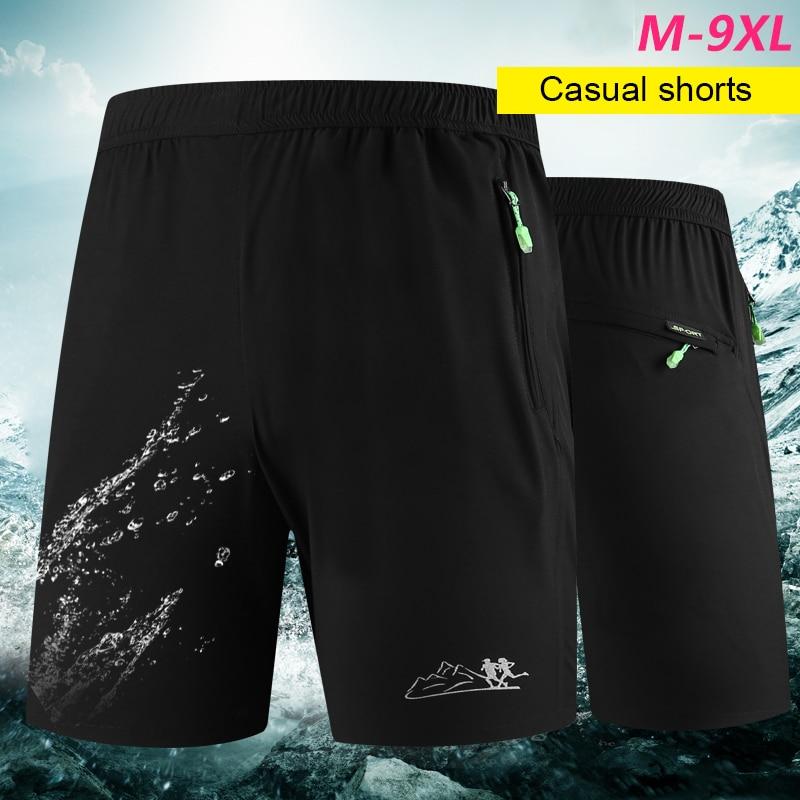 M-9xl Breathable Shorts Men Dress Zipper Pocket Sport Compression Shorts For Men Mid Elastic Waist Boxer Shorts Clothing Homme