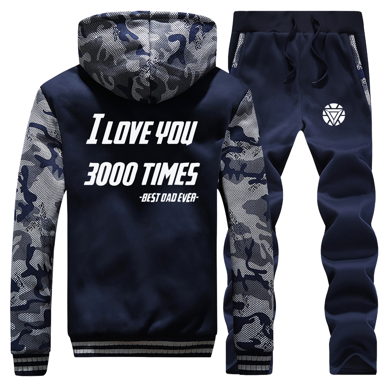 The Avengers 4 Iron Man I Love You 3000 New Winter Hoodies Mens Camouflage Coat Thick Suit Jackets Sportswear+Pants 2 Piece Set