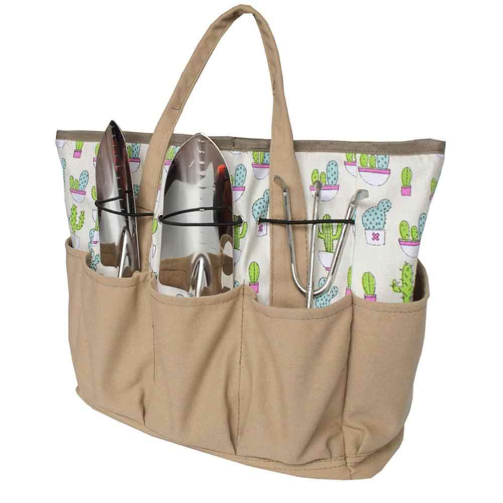 Garden Tool Storage Bag Cactus Pattern Canvas Outdoor Multi Pocket Gardening Tool Organizer Tote Bag Carrier