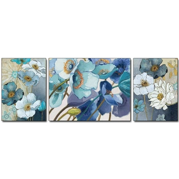 New Arrival Abstract Flower Art Handmade Floral Canvas Oil Painting 3 Panels Wall Hangings Artwork For Living Room Decoration
