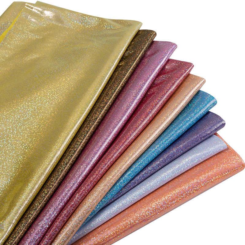 Дешевые блестящие лазерные бронзовые ткани мягкие сценические наряды и Одежда для танцев материал низкое эластичное восстановление 25*150 см/шт TJ0388