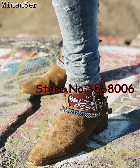 Mężczyźni moda włochy projektant Slip on krótkie buty buty zamszowe skórzane rzym stylu na świeżym powietrzu okrągłe Toe Chelsea buty buty męskie buty w Buty sztyblety od Buty na  Grupa 1