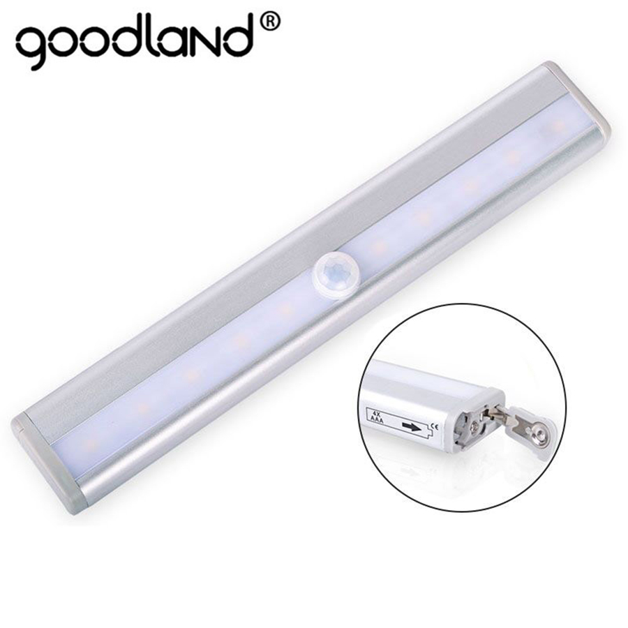 Goodland LED Under Cabinet Light 6 10 LEDs PIR LED Motion Sensor Light Cupboard Wardrobe Bed Lamp For Closet Stairs Kitchen