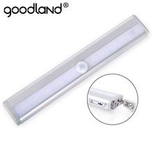 Goodland LED Under Cabinet Light 6 10 LEDs PIR LED Motion Sensor Light Cupboard Wardrobe Bed Lamp For Closet Stairs Kitchen