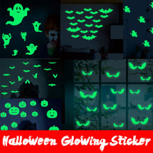 Halloween Decoration Vampire Bat Witch Ghost Eyes Holiday  Glow in the darek Wall Stickers