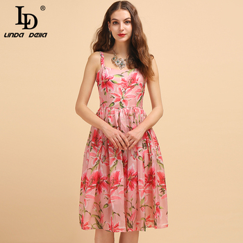 LD LINDA DELLA Fashion Runway Summer Spaghetti Strap Dresses Womens Sexy Backless Floral Print High Waist Casual Holiday Dress