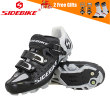 SIDEBIKE Pro Mens Mountain Bike Shoes MTB Cycling Self-Locking Riding Bicycle with Mesh Holes and hook & loop