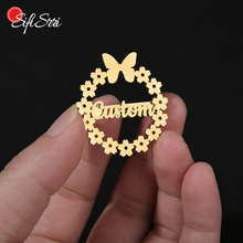 Brooches Arabic Stainless-Steel Name Personalized Gold Flower Sifisrri for Women Girls