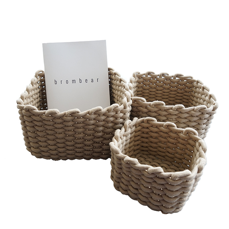 Качественные корзины для хранения ручной работы, Плотная хлопковая веревка в скандинавском стиле, практичная корзина для мелочей, органайз...