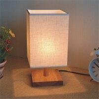 Moderne Holz LED Tisch Lampen Schlafzimmer Nacht Lampe Stoff Lampenschirm Tisch Licht Einfache Beleuchtung Hause Dekoration Holz Leuchte