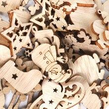 Décorations de noël en bois, 50 pièces, mini bonhomme de neige, flocons de neige, pour la maison, nouvel an