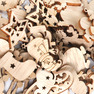 50pcs Christmas decorations for home wooden chips mini snowman Santa Claus snowflake craft xmas natal ornament new year